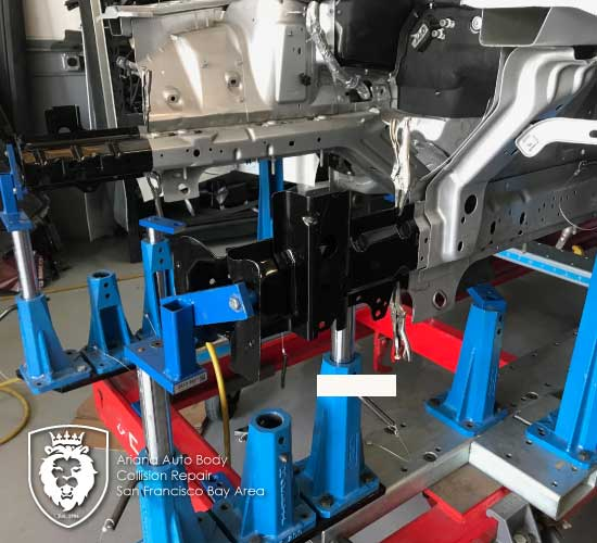 2016 Ford Mustang frame rail section with Celette